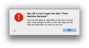 Mac OSX can't repair the disk 'Time Machine Backups'. You can still open or copy files on the disk, but you can't save changes to files on the disk. Back up the disk and reformat it as soon as you can.